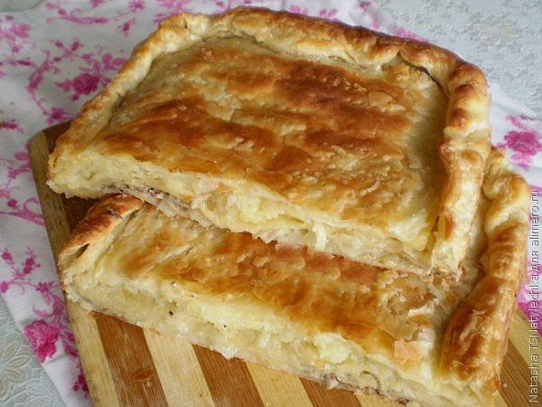 Рыбный пирог из консервов из слоеного теста рецепт с